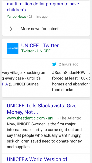UNICEF-Tweets-in-Google-search